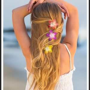 DEL SOL color-changing hair clips - plumeria
